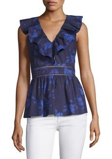 Kate Spade Hibiscus Ruffle-Neck Cotton Top