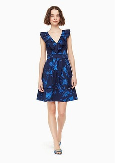 Kate Spade hibiscus ruffle neck dress
