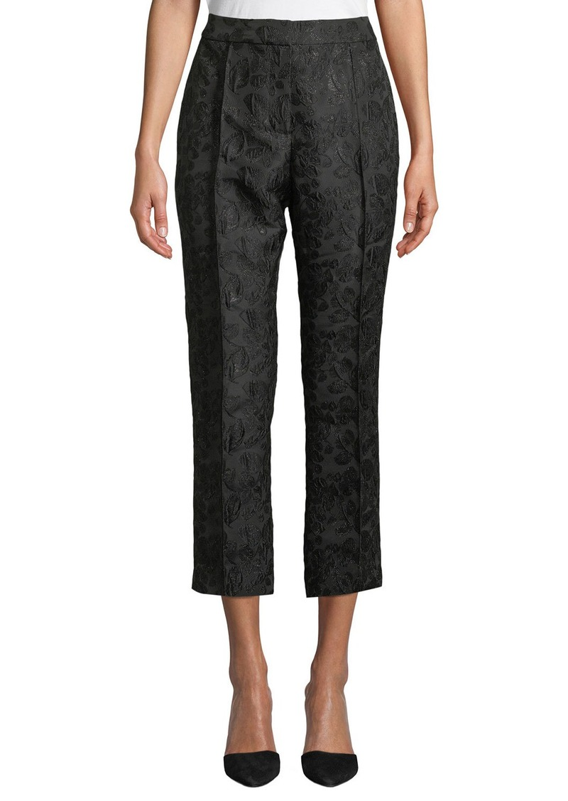 Kate Spade High-Rise Straight-Leg Metallic Jacquard Pants