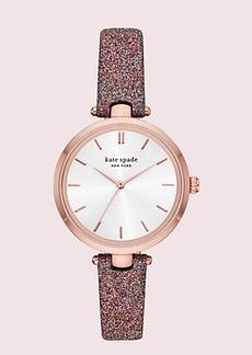 Kate Spade holland rainbow glitter leather watch