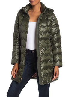 Kate Spade Hooded Zip Front Quilted Down Jacket