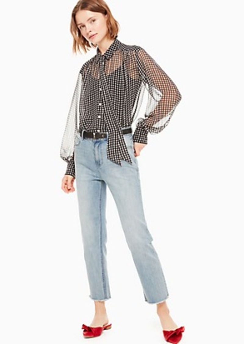 Kate Spade houndstooth chiffon blouse
