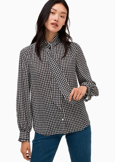 Kate Spade houndstooth tie neck shirt