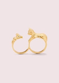 Kate Spade house cat and mouse ring