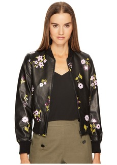 Kate Spade In Bloom Leather Bomber Jacket