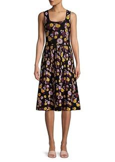 Kate Spade Jacquard Floral Sleeveless A-Line Sweater Dress