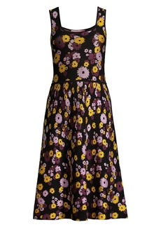 Kate Spade Jacquard Floral Sleeveless A-Line Sweater Dress
