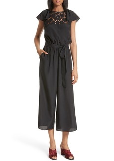 kate spade embroidered lace yoke jumpsuit