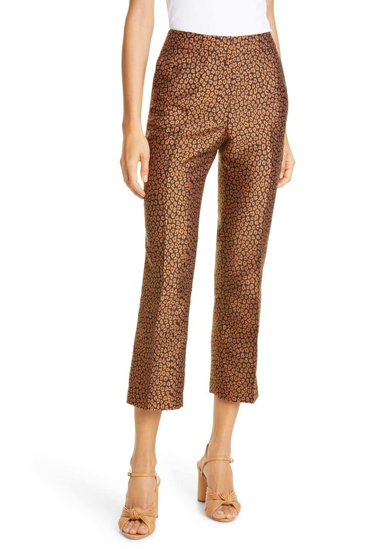 kate spade flora leopard jacquard crop trousers