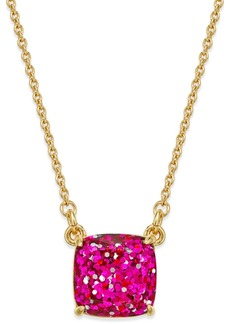 kate spade new york 12k Gold-Plated Pink Glitter Pendant Necklace