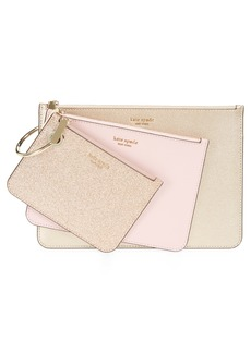 kate spade new york 3-pack metallic leather pouches