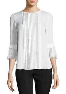 kate spade new york 3/4-sleeve pintucked silk chiffon blouse