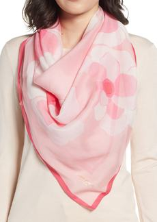 kate spade new york abstract peony square cotton & silk scarf