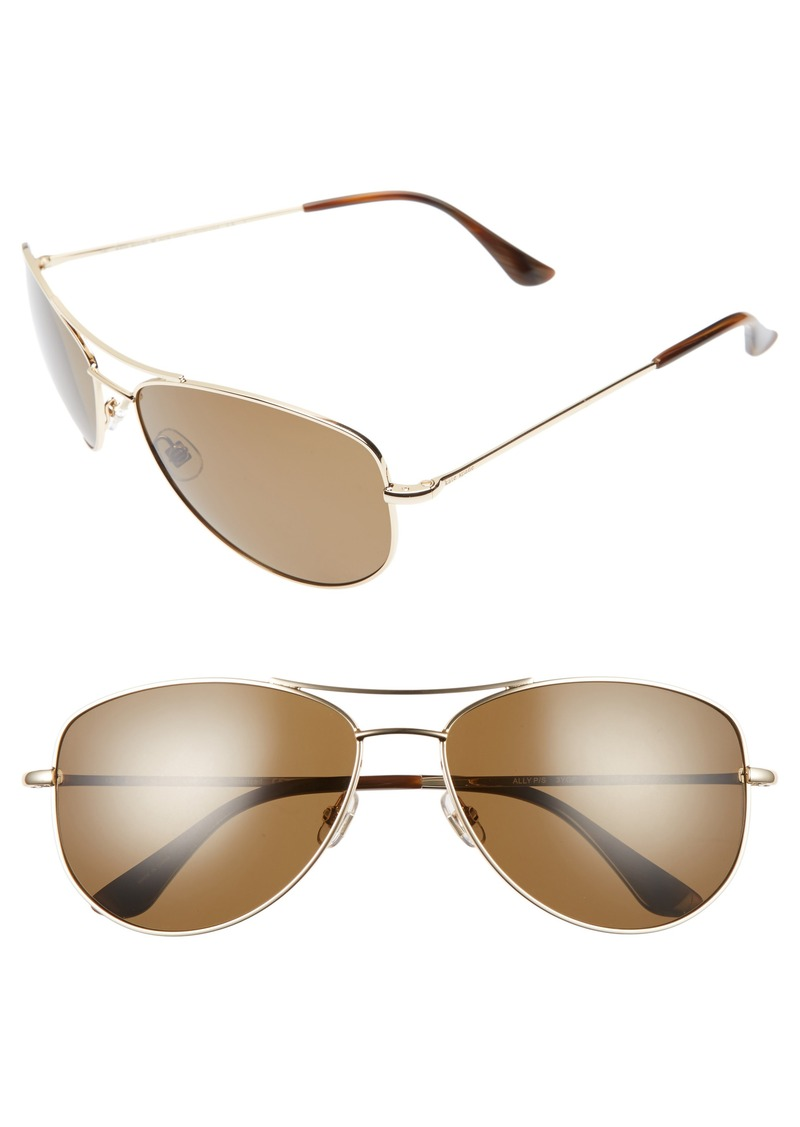 kate spade new york 'ally' 60mm polarized metal aviator sunglasses