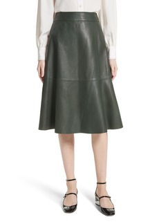kate spade new york allyson leather flare skirt