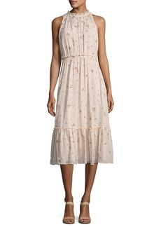 kate spade new york amanda high-neck sleeveless midi cocktail dress
