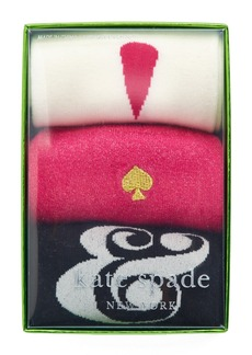 kate spade new york ampersand/exclamation point 3-pack crew socks