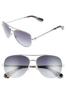 kate spade new york avaline 58mm aviator sunglasses