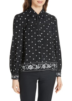 kate spade new york bandana tie neck top