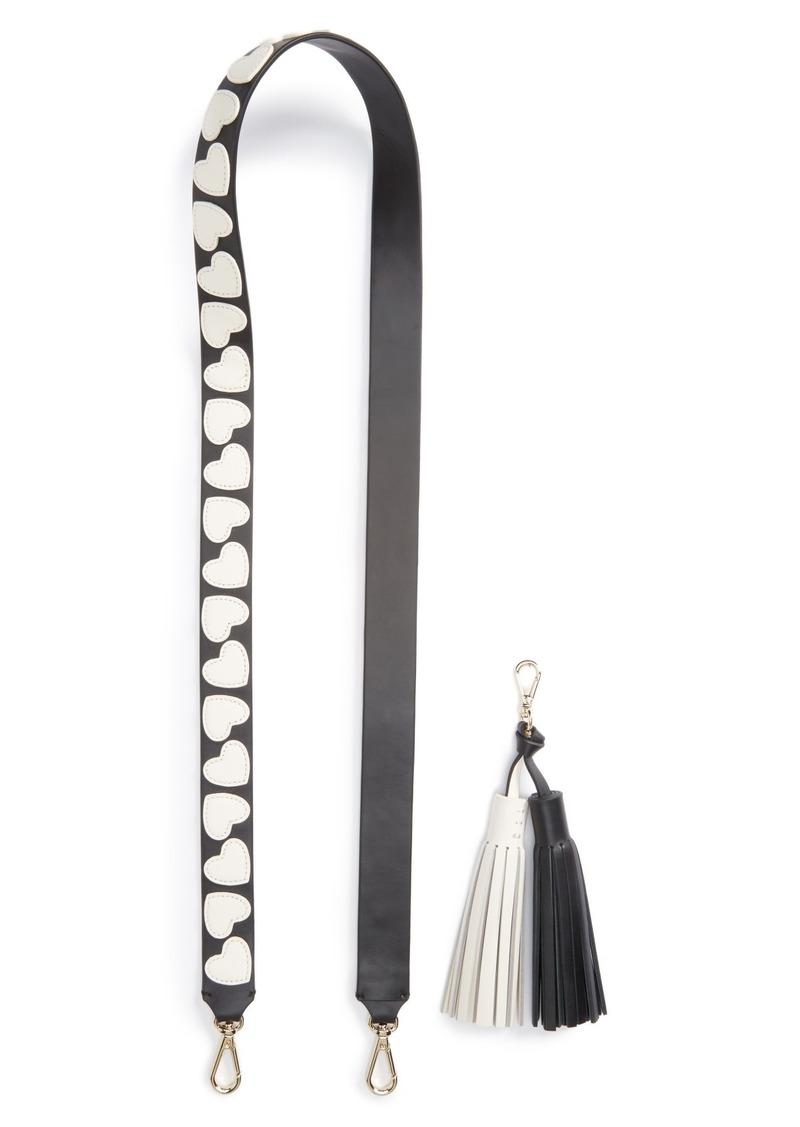new york be mine heart appliqué guitar strap & tassel