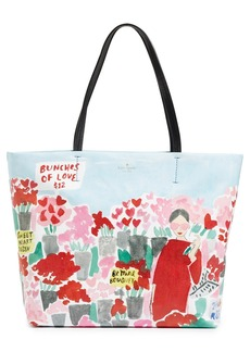 kate spade new york be mine rose scene hallie canvas tote