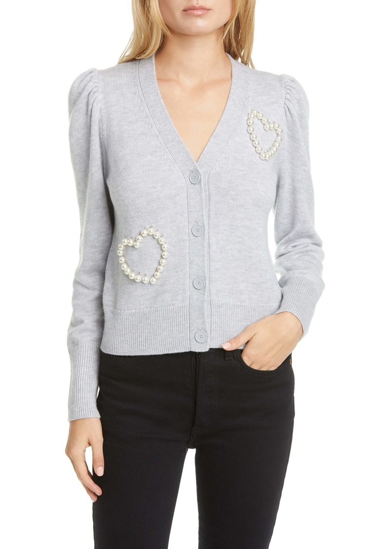 kate spade new york beaded heart cardigan