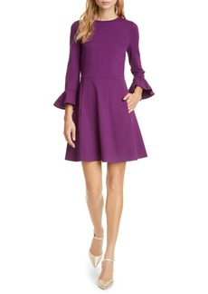 kate spade new york bell sleeve ponte fit & flare dress