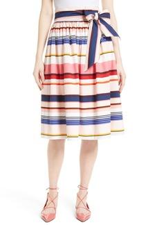 kate spade new york berber stripe sash tie midi skirt