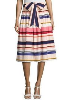 kate spade new york berber striped stretch poplin midi skirt