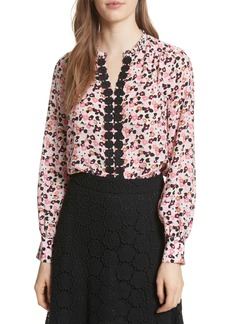 kate spade new york bloom print silk blouse