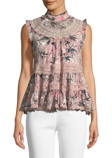 Kate Spade botanical chiffon sleeveless top