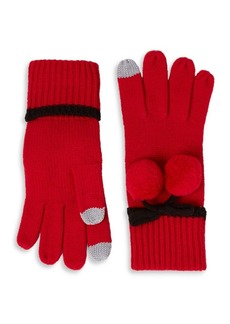 Kate Spade New York Bow Pom-Pom Gloves