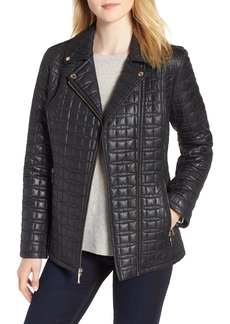 kate spade new york bow quilted moto jacket
