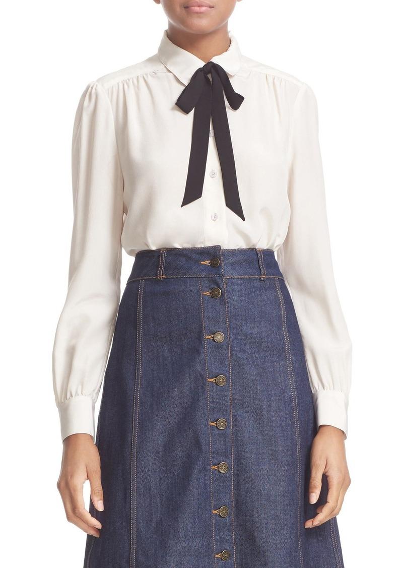 kate spade new york bow tie silk blouse