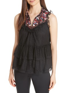 kate spade new york camelia embroidered top