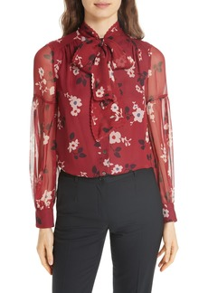 kate spade new york camelia silk chiffon top