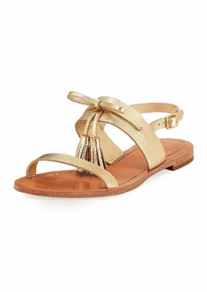 kate spade new york carlita flat metallic tassel sandal