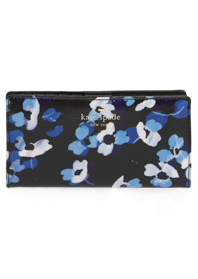 kate spade new york 'cedar street - floral stacy' coated canvas wallet