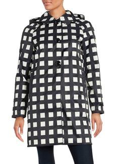 Kate Spade New York Checked Hooded Rain Coat