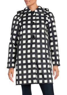 Kate Spade New York Checked Hooded Rain Coat