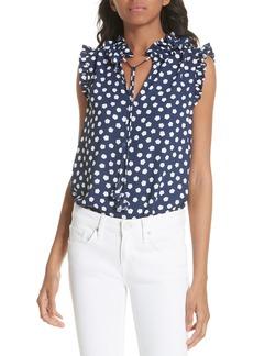 kate spade new york cloud dot tie front sleeveless blouse