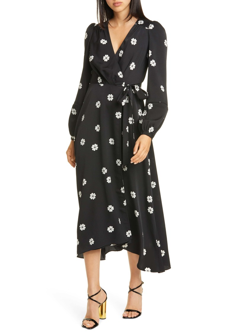 kate spade new york clover toss long sleeve wrap dress