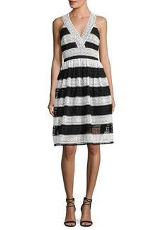 kate spade new york colorblock lace v-neck dress