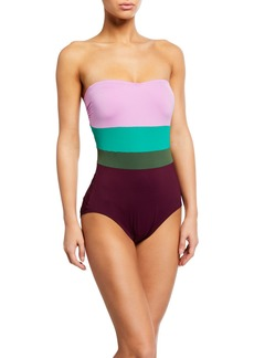 kate spade new york colorblock strapless underwire one-piece
