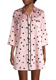 Kate Spade New York Contrast-Piped Dot Satin Sleepshirt