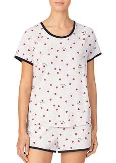 kate spade new york Contrast Trim Printed Shorts Pajama Set