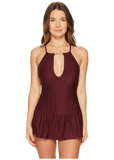 Kate Spade Crescent Bay #74 High Neck Plunge Keyhole Swimdress Cover-Up w/ Bow Hardware & Removable Soft Cups