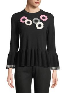 Kate Spade crochet floral bell-sleeve peplum sweater
