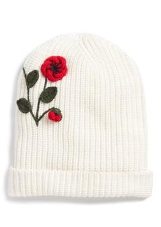 kate spade new york crochet poppy beanie