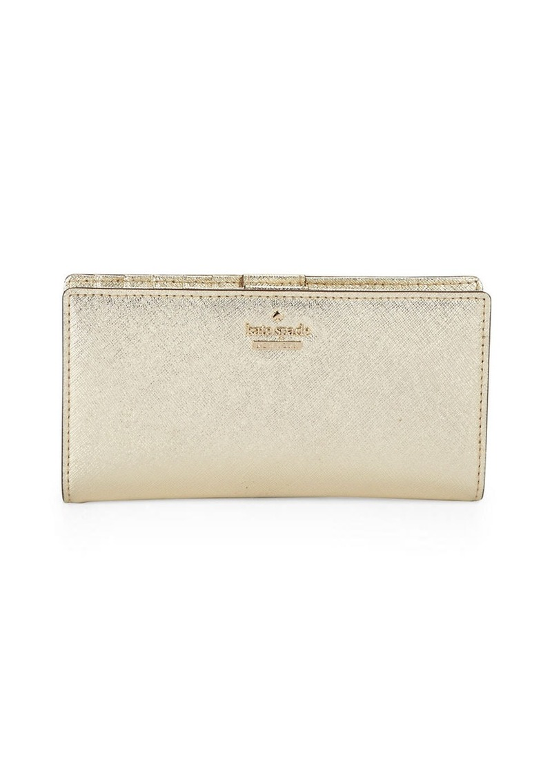 KATE SPADE NEW YORK Crosshatched Leather Wallet